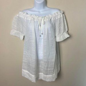 Maronie White Off the Shoulder Sheer Top, M